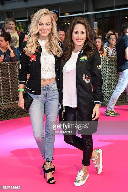German actress Syra Feiser and Angelina Heger attend the Suicide Squad Live Event at CineStar on August 3 2016 in Berlin Germany