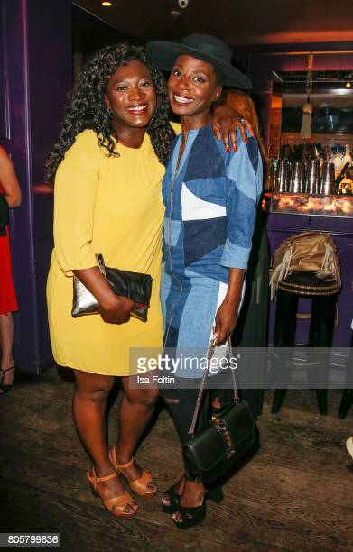 German actress Thelma Buabeng and dancer Nikeata Thompson during the host of Annabelle Mandengs Ladies Dinner at Hotel Zoo on July 2 2017 in Berlin...