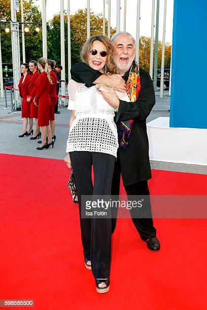 German actress Trixie Melles and star coiffeur Udo Walz attend the IFA 2016 opening gala on September 1 2016 in Berlin Germany