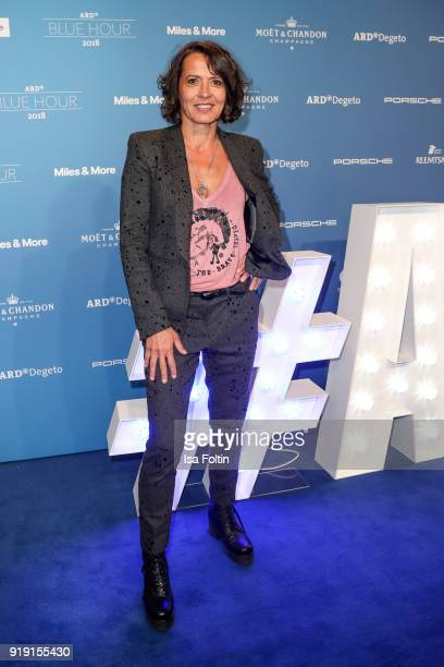 German actress Ulrike Folkerts attends the Blue Hour Reception hosted by ARD during the 68th Berlinale International Film Festival Berlin on February...