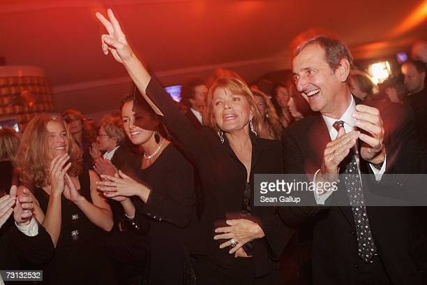 German actress Uschi Glas and her husband Dieter Hermann dance at the Kitz Race Party after the Hahnenkamm slalom races January 27, 2007 in...