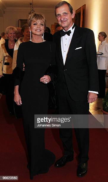 German actress Uschi Glas and husband Dieter Hermann arrive for the Hubert Burda Birthday Reception at Munich royal palace on February 12 2010 in...