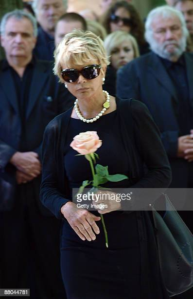 German actress Uschi Glas attends the funeral of German actress Barbara Rudnik at Nordfriedhof cemetery on May 29 2009 in Munich Germany