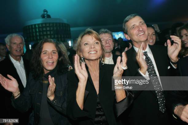 German actress Uschi Glas her husband Dieter Hermann and Cathrin Baldessarini dance at the Kitz Race Party after the Hahnenkamm slalom races January...
