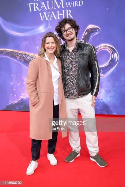 German actress Valerie Niehaus and her son Joshua Elias Niehaus attend the movie premiere of Aladdin at UCI Luxe Mercedes Platz on May 11 2019 in...