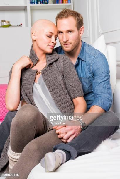 German actress Verena Mundhenke being bald after having a chemotherapy and her partner Florian Kringe of German Bundesliga team Borussia Dortmund...