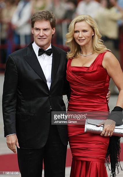 German actress Veronica Ferres and her partner Carsten Maschmeyer arrive for the Bayreuth festival 2011 premiere on July 25, 2011 in Bayreuth,...