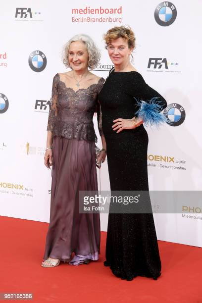 German actresses Eleonore Weisgerber and Margarita Broich attend the Lola German Film Award red carpet at Messe Berlin on April 27 2018 in Berlin...