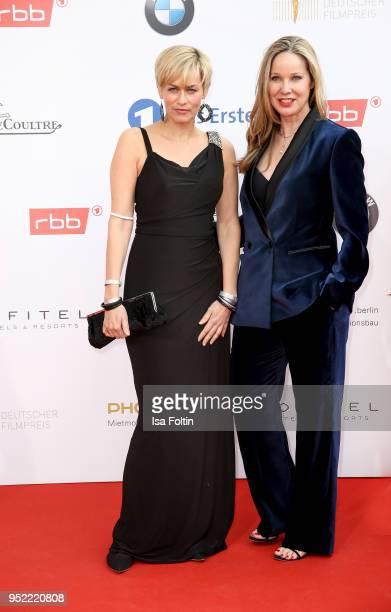 German actresses Gesine Cukrowski and AnnKathrin Kramer attend the Lola German Film Award red carpet at Messe Berlin on April 27 2018 in Berlin...