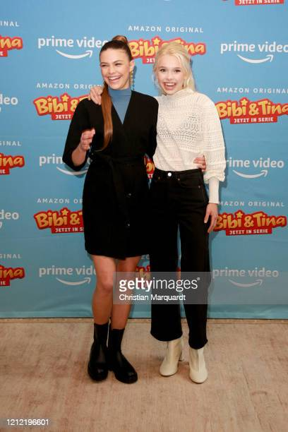 German Actresses Harriet HerbigMatten and Katharina Hirschberg attend the photo call for the series Bibi Tina at Hotel Oderberger on March 13 2020 in...