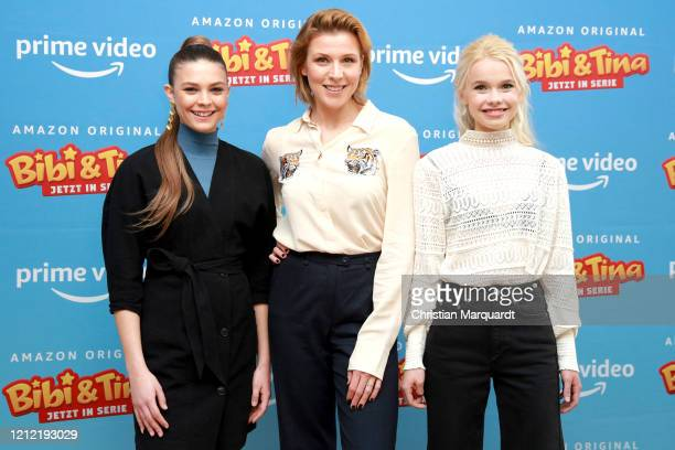 German Actresses Harriet HerbigMatten Franziska Weisz and Katharina Hirschberg at the photo call for the series Bibi Tina at Hotel Oderberger on...