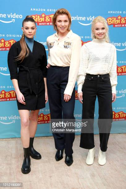 German Actresses Harriet HerbigMatten Franziska Weisz and Katharina Hirschberg attend the photo call for the series Bibi Tina at Hotel Oderberger on...