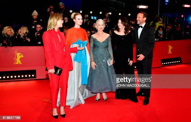 German actresses Heike Makatsch Iris Berben US actress Elle Fanning British actress Helen Mirren and German actor Wotan Wilke Moehring pose on the...
