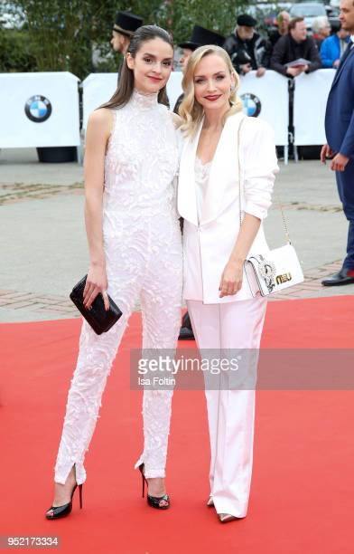 German actresses Janin Ullmann and Luise Befort attend the Lola German Film Award red carpet at Messe Berlin on April 27 2018 in Berlin Germany