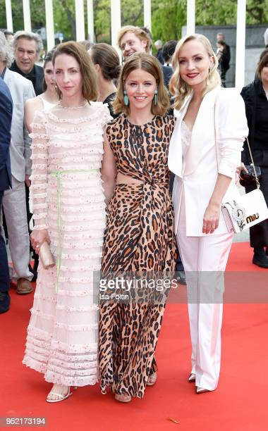 German actresses Katharina Schuettler Karoline Schuch and Janin Ullmann attend the Lola German Film Award red carpet at Messe Berlin on April 27 2018...