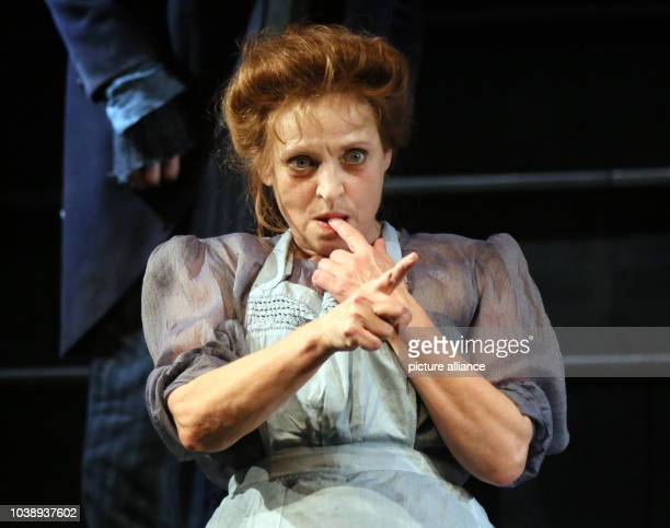 German actresses Katharina Thalbach rehearses the piece 'Roter Hahn im Biberpelz' at the Komoedie am Kurfuerstendamm theatre in Berlin Germany 16...