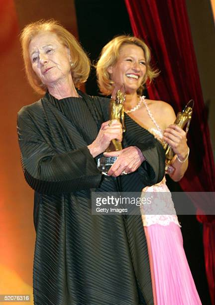 German actresses Rosemarie Fendel and Suzanne von Borsody laugh at the Diva Awards at Deutsches Theater on January 27 2005 in Munich Germany