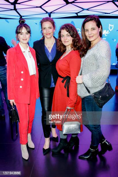 German actresses Xenia Assenza, Rebecca Immanuel, Ronja Forcher and Elisabeth Lanz attend the Blaue Blume Awards at The Reed on February 19, 2020 in...