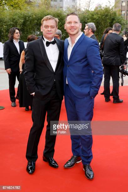 German actro Sylvester Groth and german actor Marco Kreuzpaintner during the Lola German Film Award red carpet arrivals at Messe Berlin on April 28...