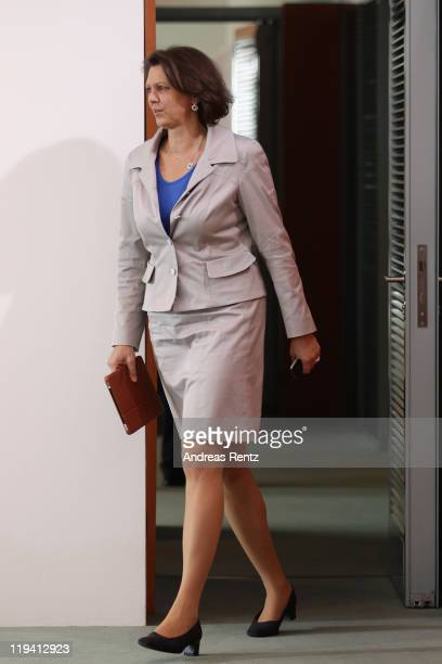 German Agriculture and Consumer Protection Minister Ilse Aigner arrives for the weekly German government cabinet meeting on July 20 2011 in Berlin...