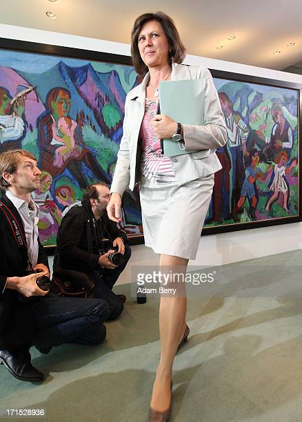 German Agriculture and Consumer Protection Minister Ilse Aigner arrives for the weekly German federal Cabinet meeting on June 26 2013 in Berlin...
