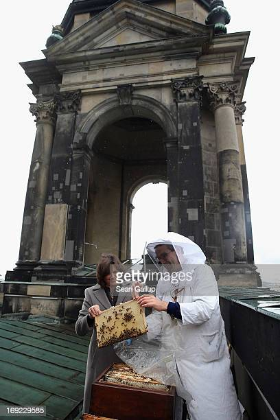 German Agriculture and Consumer Protection Minister Ilse Aigner holds a bees' honeycomb presented to her by beekeper Uwe Marth on the roof of the Dom...