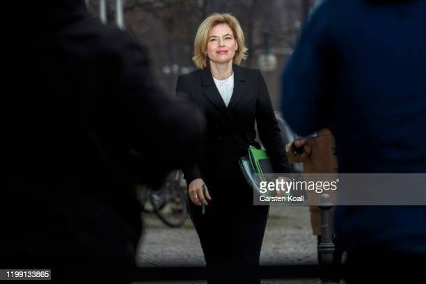 German Agriculture and Consumer Protection Minister Julia Kloeckner arrives at CDU headquarters for a meeting of the CDU leadership following the...