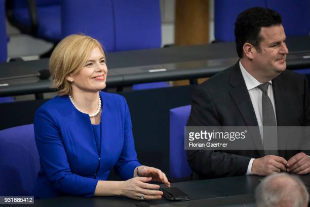 German Agriculture and Consumer Protection Minister Julia Kloeckner and German Minister of Work and Social Issues Hubertus Heil are pictured during...