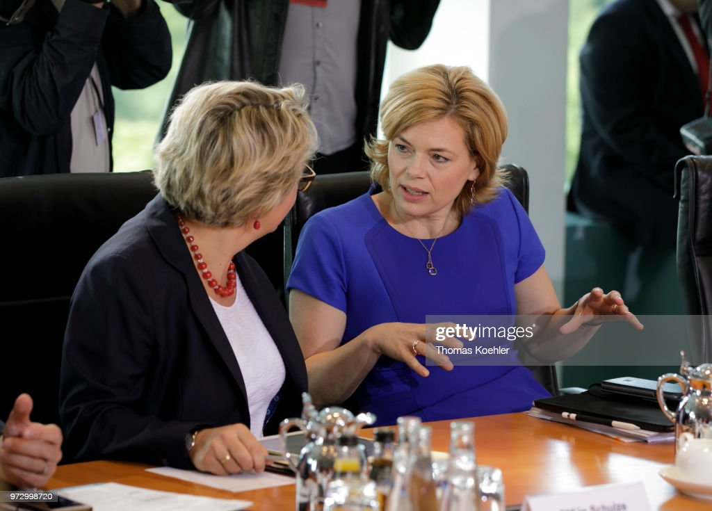 German Agriculture and Consumer Protection Minister Julia Kloeckner (R) and German Environment Minister Svenja Schulze (L) before the Weekly Government Cabinet Meeting on June 13, 2018 in Berlin, Germany.