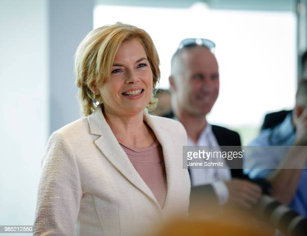 German Agriculture and Consumer Protection Minister Julia Kloeckner arrives for the Weekly Government Cabinet Meeting on June 27 2018 in Berlin...