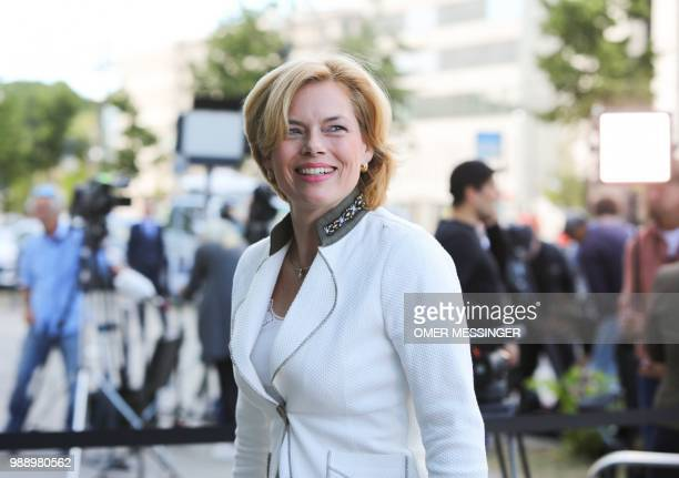German Agriculture minister and Deputy Chairman of the Christian Democratic Union Julia Kloeckner arrives for a party leadership meeting at the CDU...