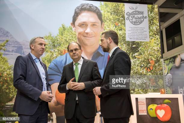 German Agriculture Minister Christian Schmidt is pictured in the Edeka stand during the opening tour of the 'Fruit Logistica' trade fair in Berlin...
