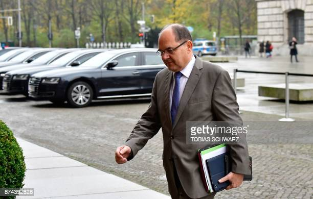 German Agriculture Minister Christian Schmidt of the conservative Christian Social Union party arrives for further exploratory talks with members of...