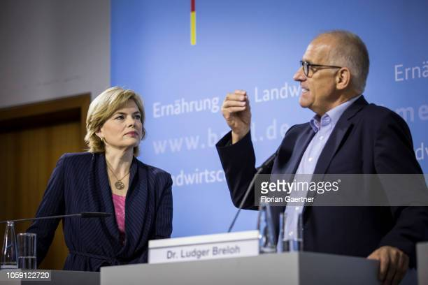 German Agriculture Minister Julia Kloeckner and Dr Ludger Breloh manager of SELEGGT are pictured during a press conference about a new technology to...