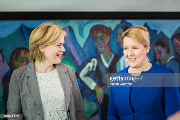 German Agriculture Minister Julia Kloeckner and German Family Minister Franziska Giffey arrive for the weekly cabinet meeting at the chancellery on...