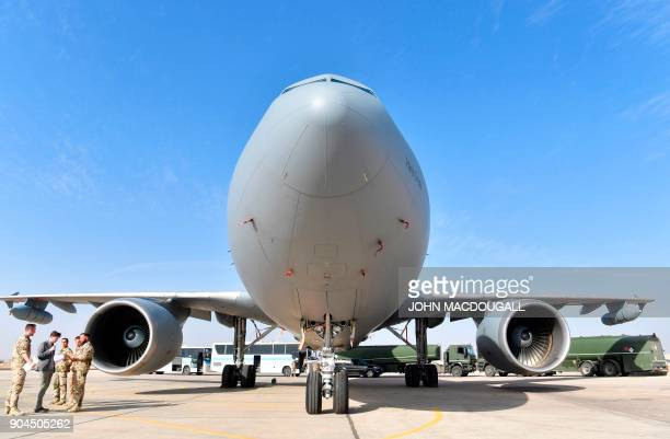 A German air force an Airbus A310 aerial refueling tanker aircraft stand on the tarmac at the Al Azraq air base in Jordan on January 13 as German...