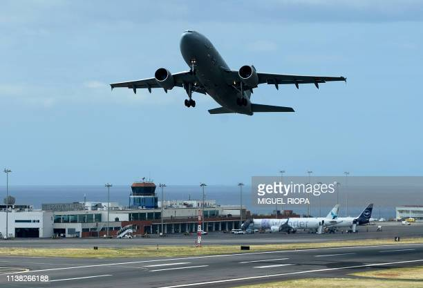 German air force 'Luftwaffe' Airbus 310 aircraft takes off transporting injured victims of a bus crash occurred on April 17 at the Madeira...