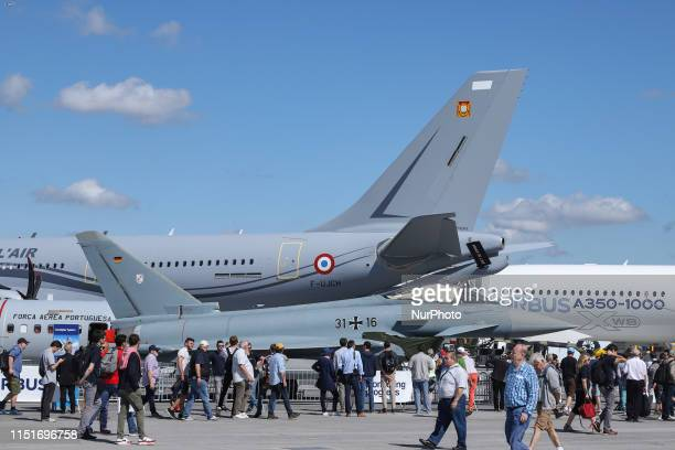 A German Air Force Luftwaffe Eurofighter Typhoon multirole fighting jet aircraft on display at the 53rd International Paris Air Show 2019 at Le...