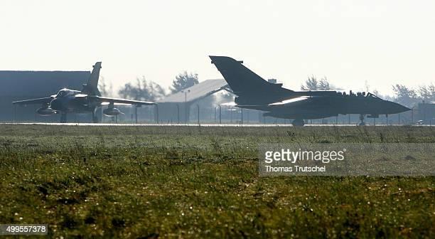 German Air Force RECCE Tornado combat aircraft of Aufklaerungsgeschwader 51 Immelman at Jagel airbase on October 23 2008 in Jagel Germany