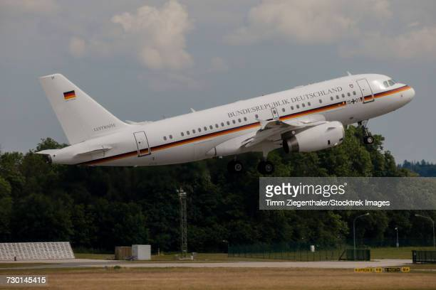 German Air Force VIP shuttle A319 taking off from Laage, Germany.