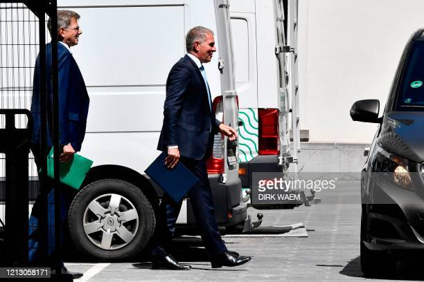 German airline Lufthansa Chairman and CEO Carsten Spohr leaves after a meeting between Lufthansa and the Belgian Prime Minister regarding Brussels...