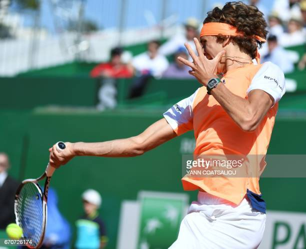 German Alexander Zverev hits a return to Spain's Rafael Nadal during their match at the MonteCarlo ATP Masters Series tennis tournament on April 20...