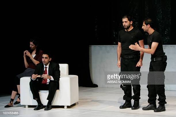 """German and Palestinian theatre students perform the classic Greek play """"Antigone"""" by Sophocles at the Palestinian Drama Academy in Ramallah on June..."""