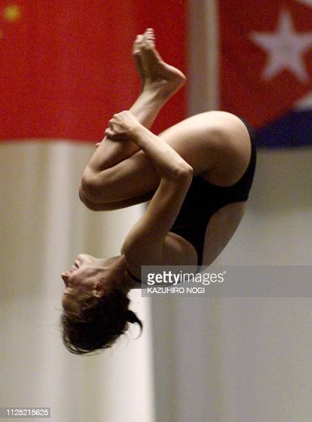 German Annika Walter performs in the women's platform final at 9th FINA World Swimming Championships in Fukuoka 25 July 2001 Walter finished 7th with...