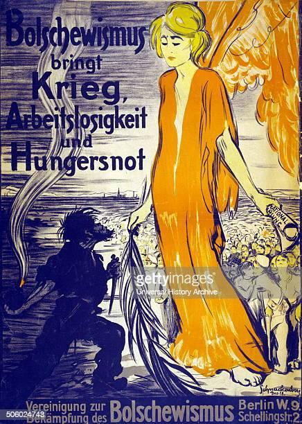 German antibolshevik poster depicting bolshevism as a harbinger of famine Photo by