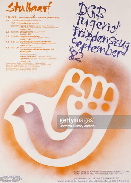 German antiwar Peace campaign poster for a Peace concert in Stuttgart during the Cold war 1982