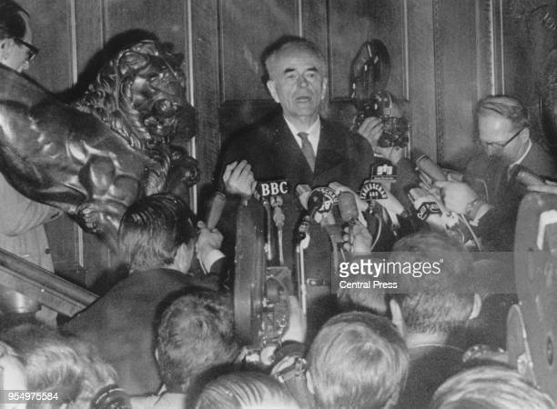German architect Albert Speer holds a press conference in Berlin after his release from Spandau Prison 1st October 1966 He had served 20 years for...