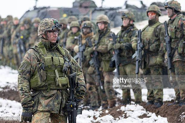 German armed forces Bundeswehr soldiers from the 292nd infantry battalion gather during the GermanFrench armed forces exercise 'Feldberg 2013' at the...