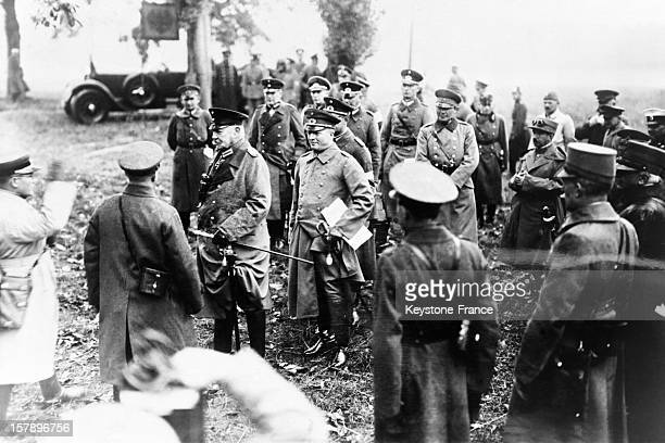 German army and Marshal Paul Von Hindenburg in September 1930 in Roemhild Germany