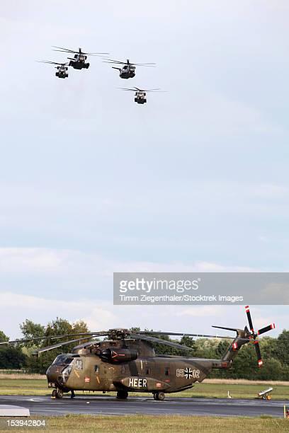 german army ch-53g helicopters, rheine-bentlage airfield, germany. - bundeswehr stock-fotos und bilder